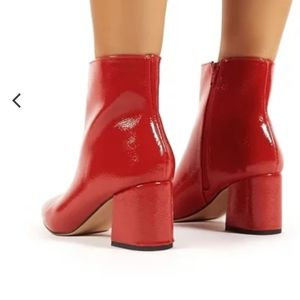 Red Patent Pointed Toe Chunky Heel Ankle Boots